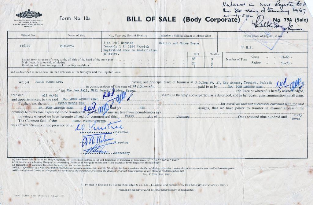 Thalatta sold to John Kemp for £1500
