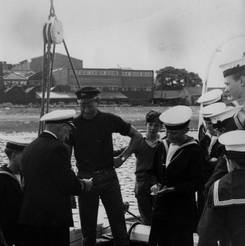 John Kemp with the Sheffield Sea Cadets and their Commander George Lill, on board 'Memory' in 1964