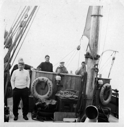 Hervey Benham on Thalatta in 1974 (3rd from right)