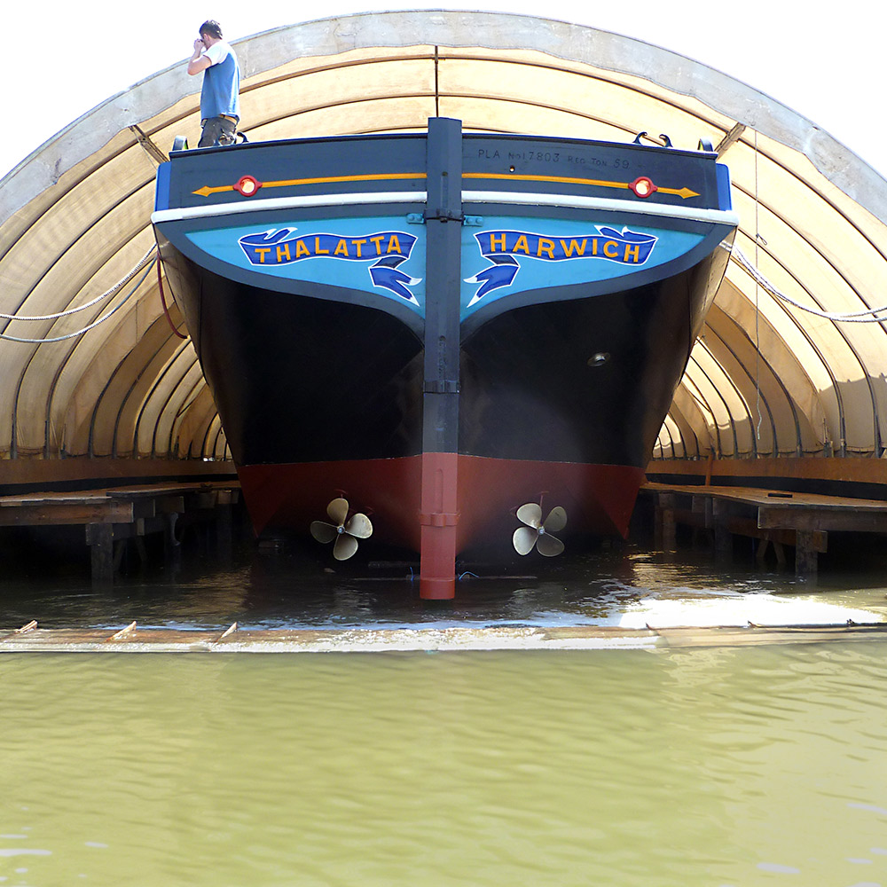 Thalatta is floated out of her dry dock